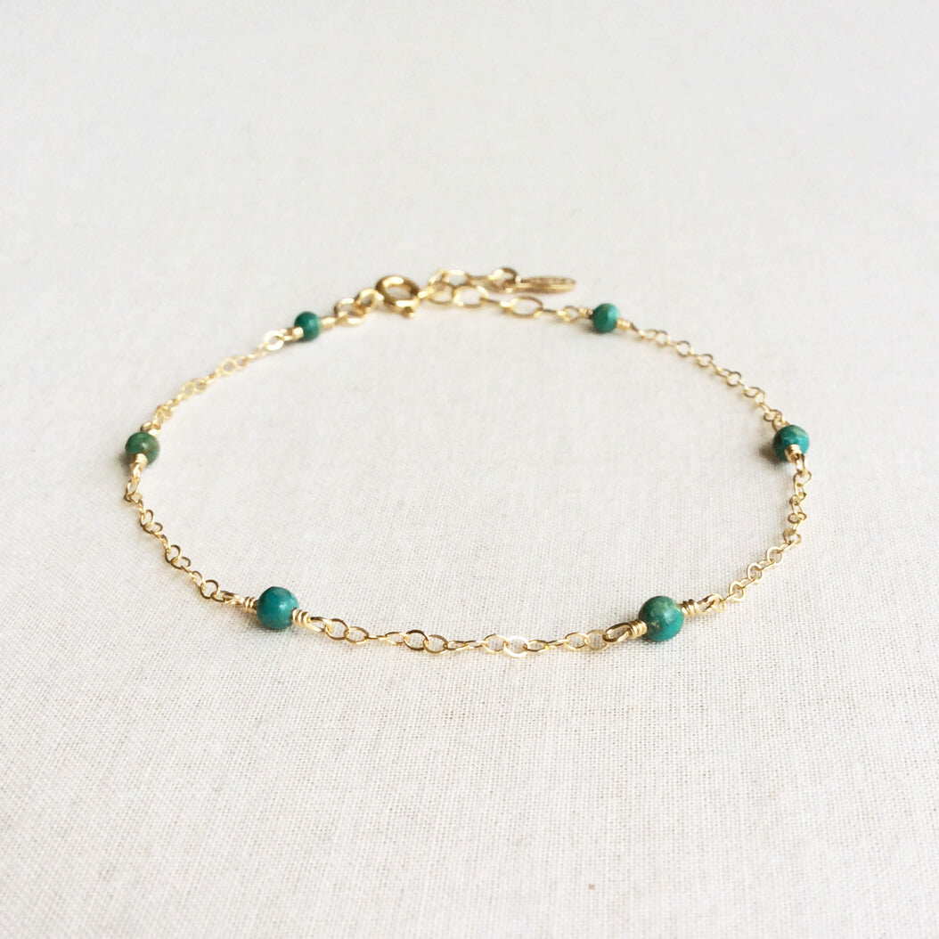dainty gold turquoise bracelet with adjustable chain in 14k or gold filled