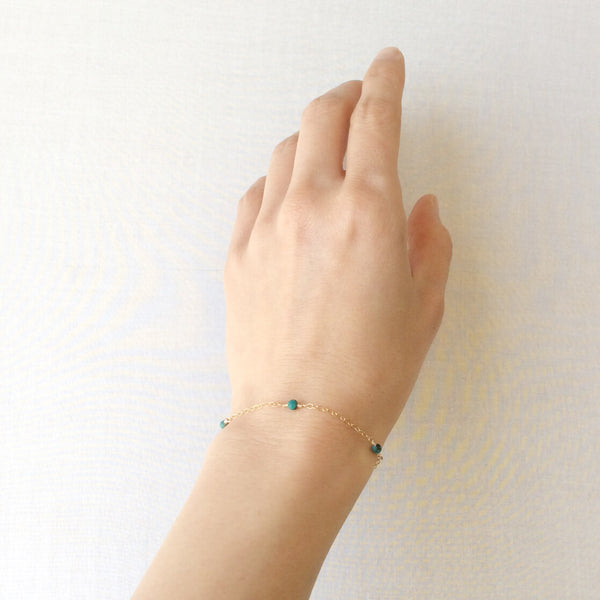 something blue turquoise bracelet with adjustable chain in 14k or gold filled
