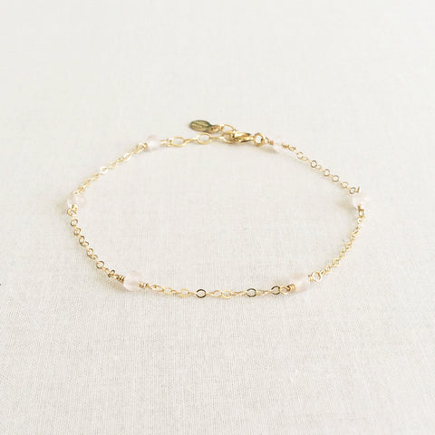 dainty rose quartz bracelet with adjustable chain in 14k or gold filled