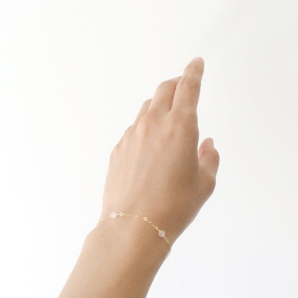 14k rose quartz bracelet with adjustable chain in 14k or gold filled