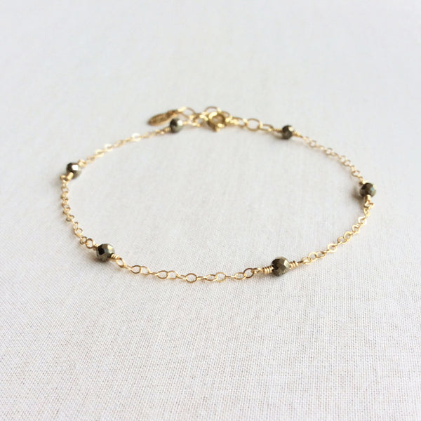 dainty pyrite bracelet with adjustable chain in 14k or gold filled