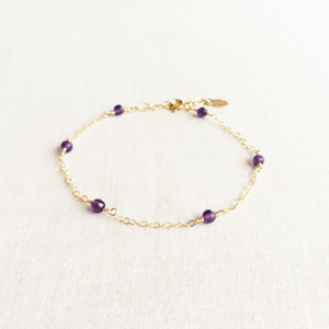 dainty amethyst gold bracelet with adjustable chain in 14k or gold filled