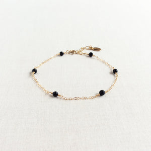 14k gold black onyx bracelet with adjustable chain in 14k or gold filled