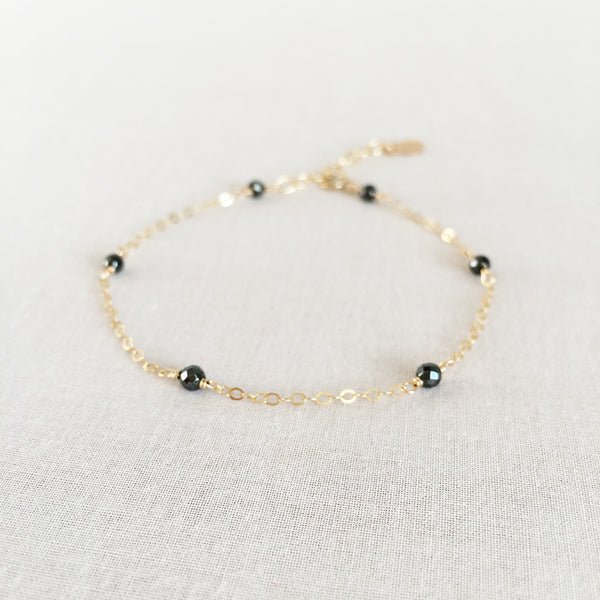 healing hematite bracelet with adjustable chain in 14k or gold filled