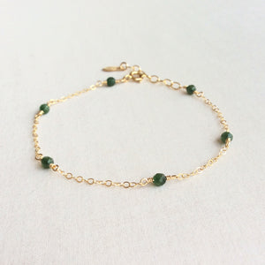 14k gold jade bracelet with adjustable chain in 14k or gold filled