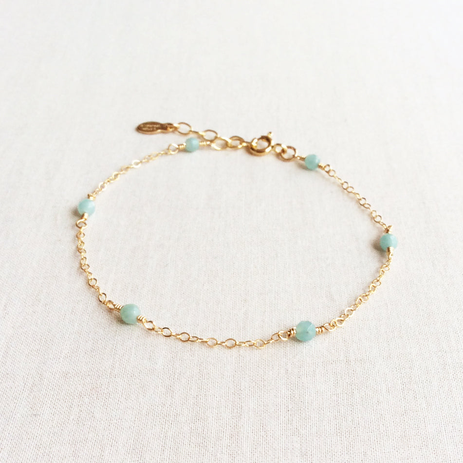dainty Amazonite gold bracelet with adjustable chain in 14k or gold filled