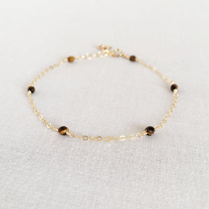 tiger eye bracelet for women with adjustable chain in 14k or gold filled