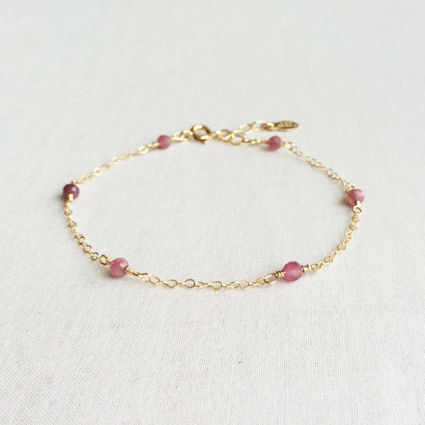 Pink tourmaline bracelet with adjustable chain in 14k or gold filled