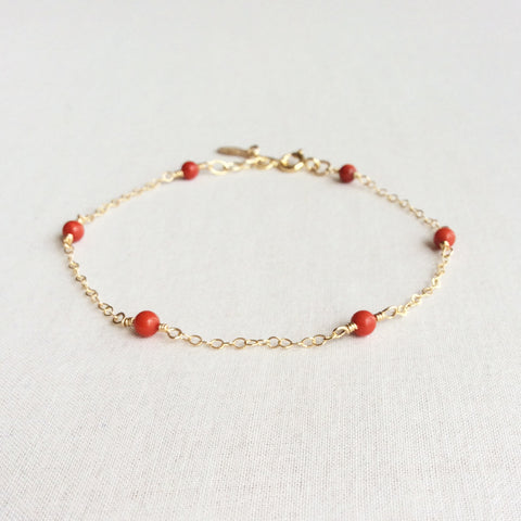 red coral gold  bracelet with adjustable chain in 14k or gold filled