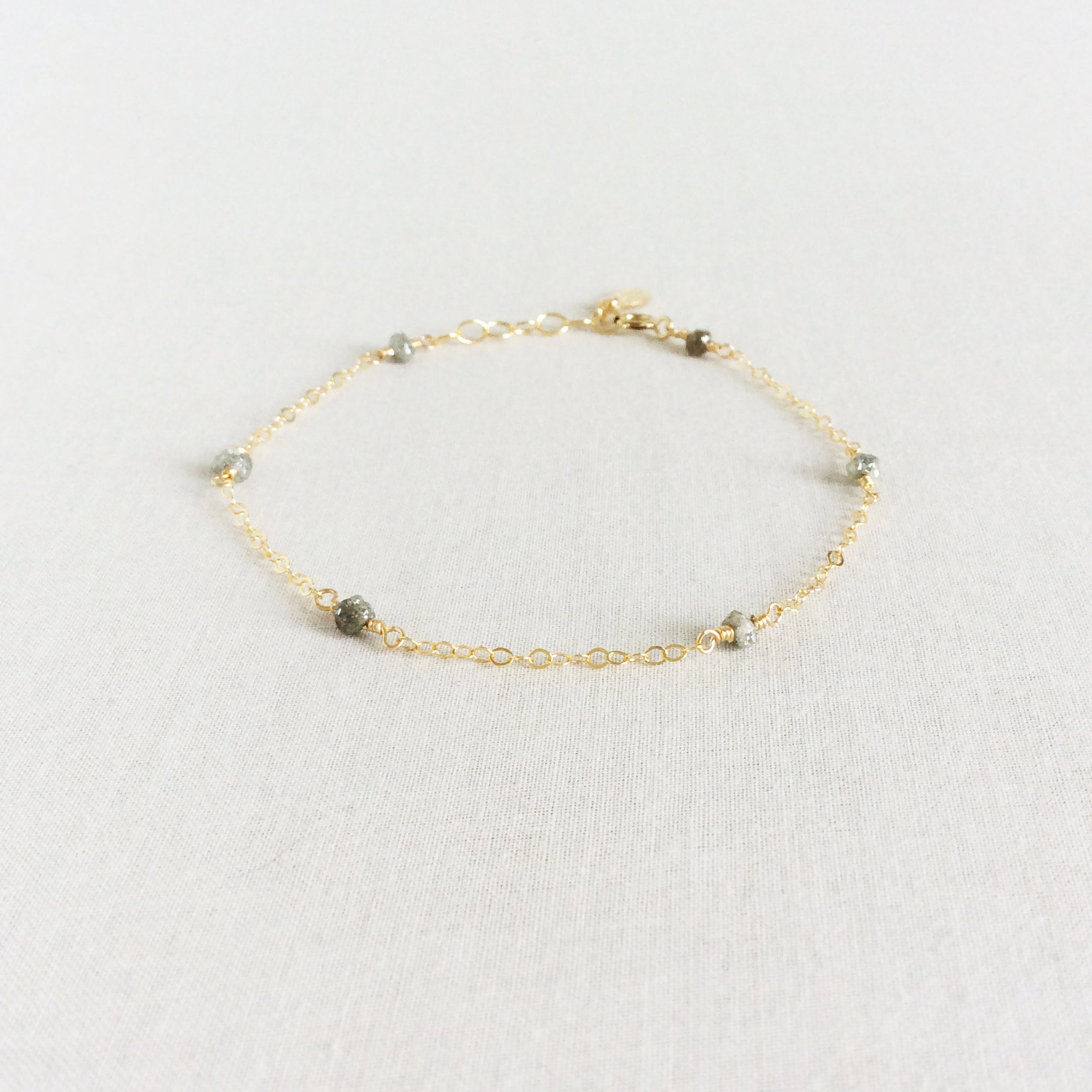 dainty rough diamond bracelet with adjustable chain in 14k or gold filled