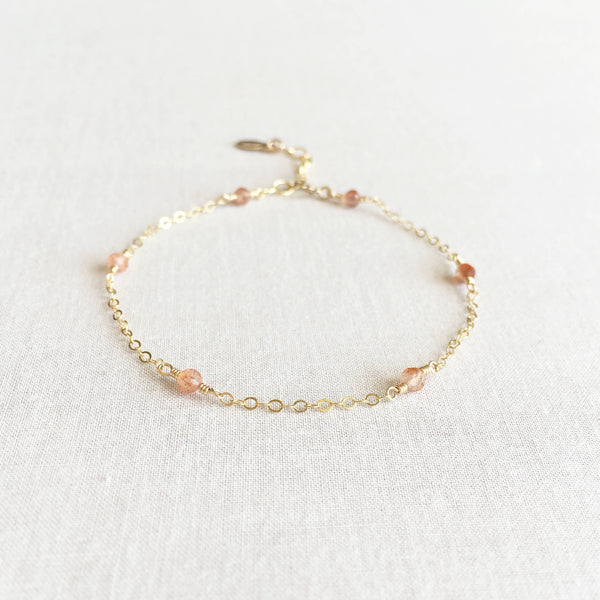 14k Oregon sunstone bracelet with adjustable chain in 14k or gold filled