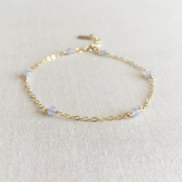 14k blue lace agate bracelet with adjustable chain in 14k or gold filled