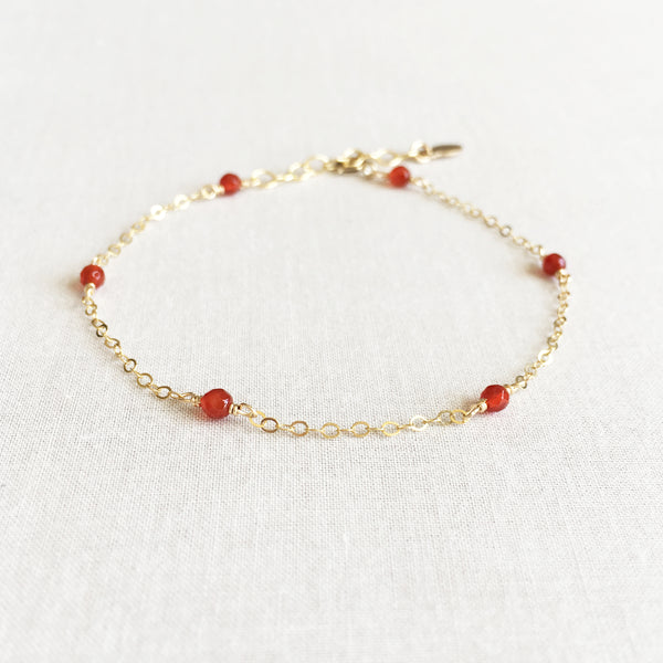 gold carnelian bracelet with adjustable chain in 14k or gold filled