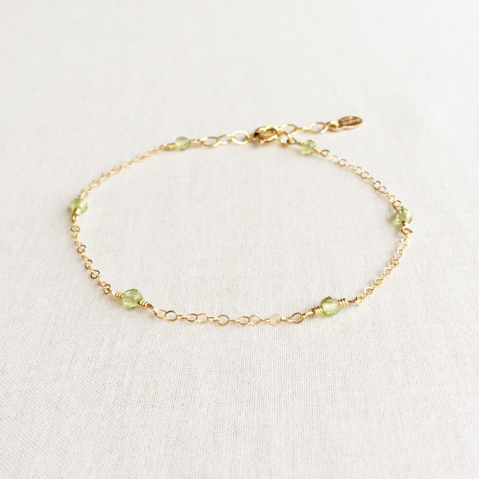 dainty peridot bracelet with adjustable chain in 14k or gold filled