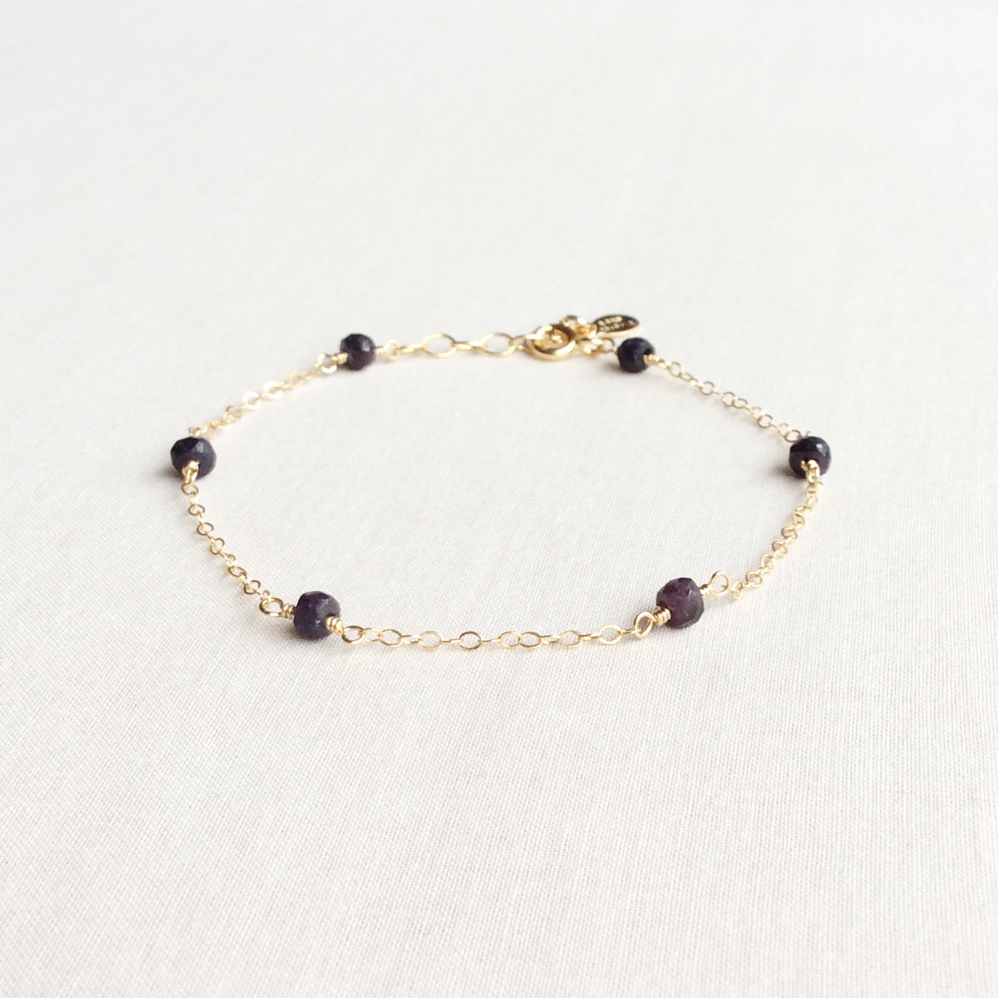 genuine 14k gold sapphire bracelet with adjustable chain in 14k or gold filled