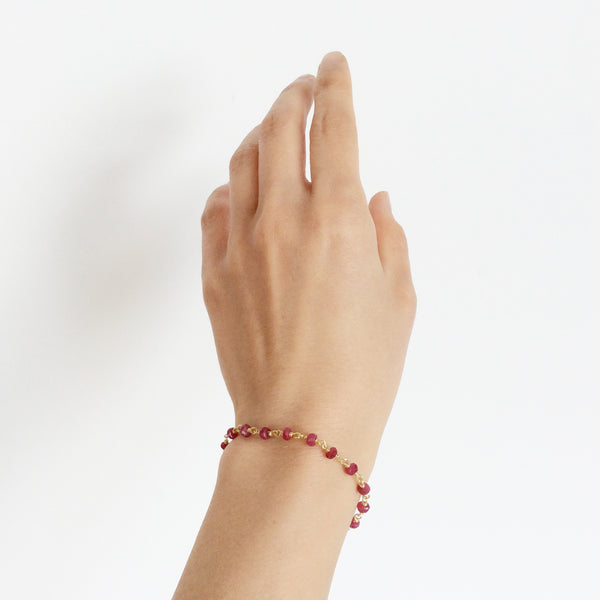 This simple ruby bracelet is a handmade bracelet with attention to detail.