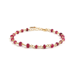 This dainty ruby bracelet is July Ruby birthstone bracelet.