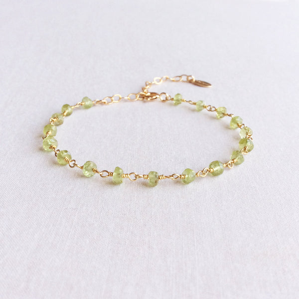 This August Peridot birthstone bracelet is a great gift idea for mother's day.
