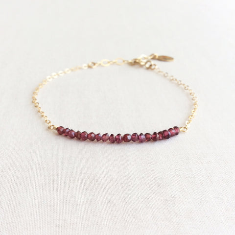 this delicate garnet bracelet is a January birthstone bracelet