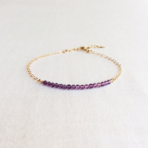 this dainty amethyst bracelet is February birthstone bracelet