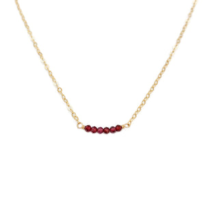 dainty garnet bead necklace is made of real garnet and 14k gold chain.  This garnet bead bar necklace can also be made in gold filled or sterling silver chain with extender.