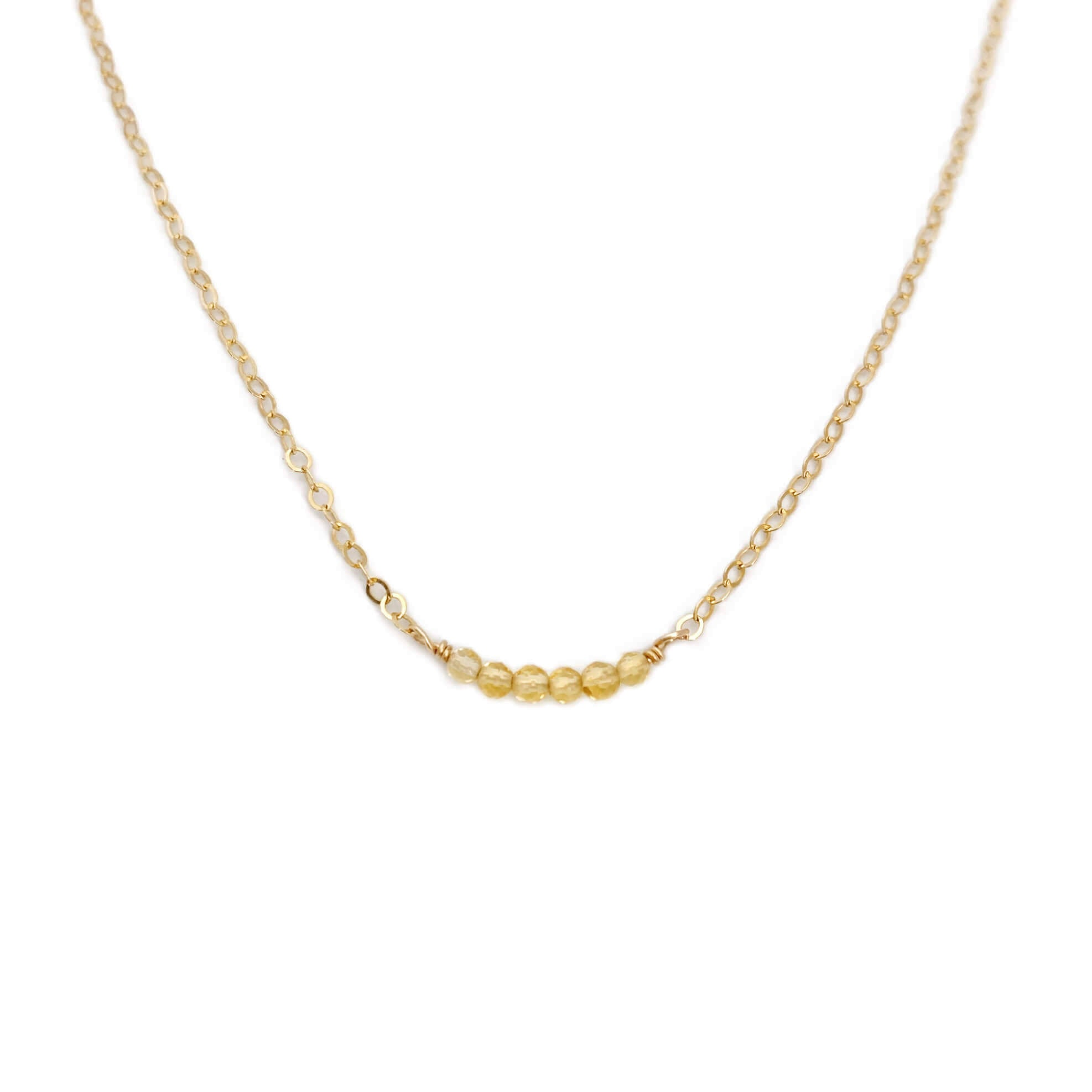 This citrine bead necklace is made of 14k gold chain. It can be made in sterling silver or gold filled material.