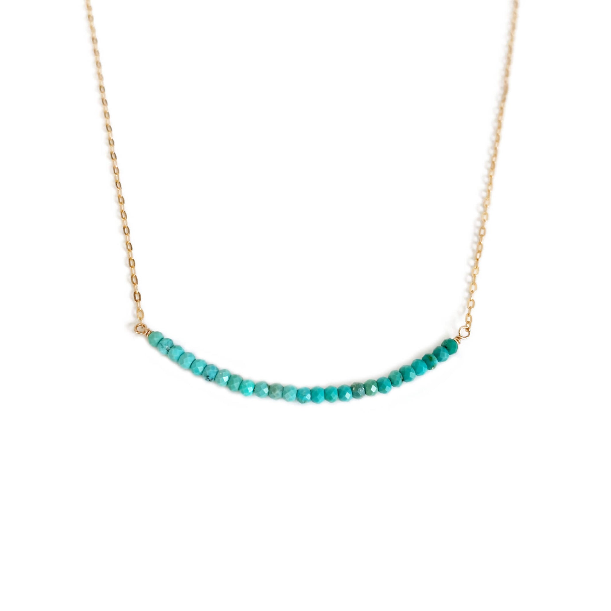 Ombre Turquoise necklace is made of real turquoise beads from Mexico and 14k solid gold chain.  It can also be made in sterling silver or gold filled chain.