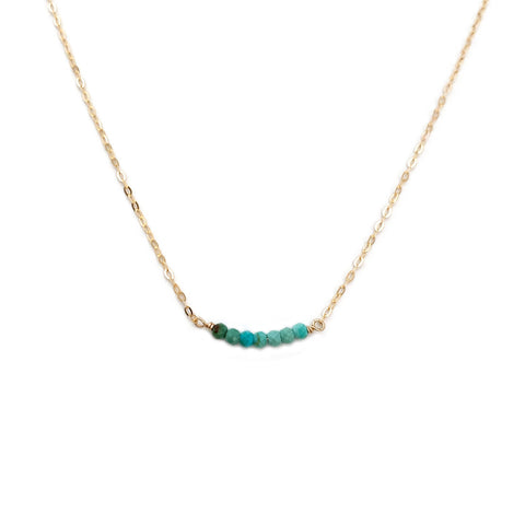 This dainty real turquoise necklace is made of ombre real turquoise beads from Mexico and 14k gold chain.  It can be also made in gold filled or sterling silver chain.