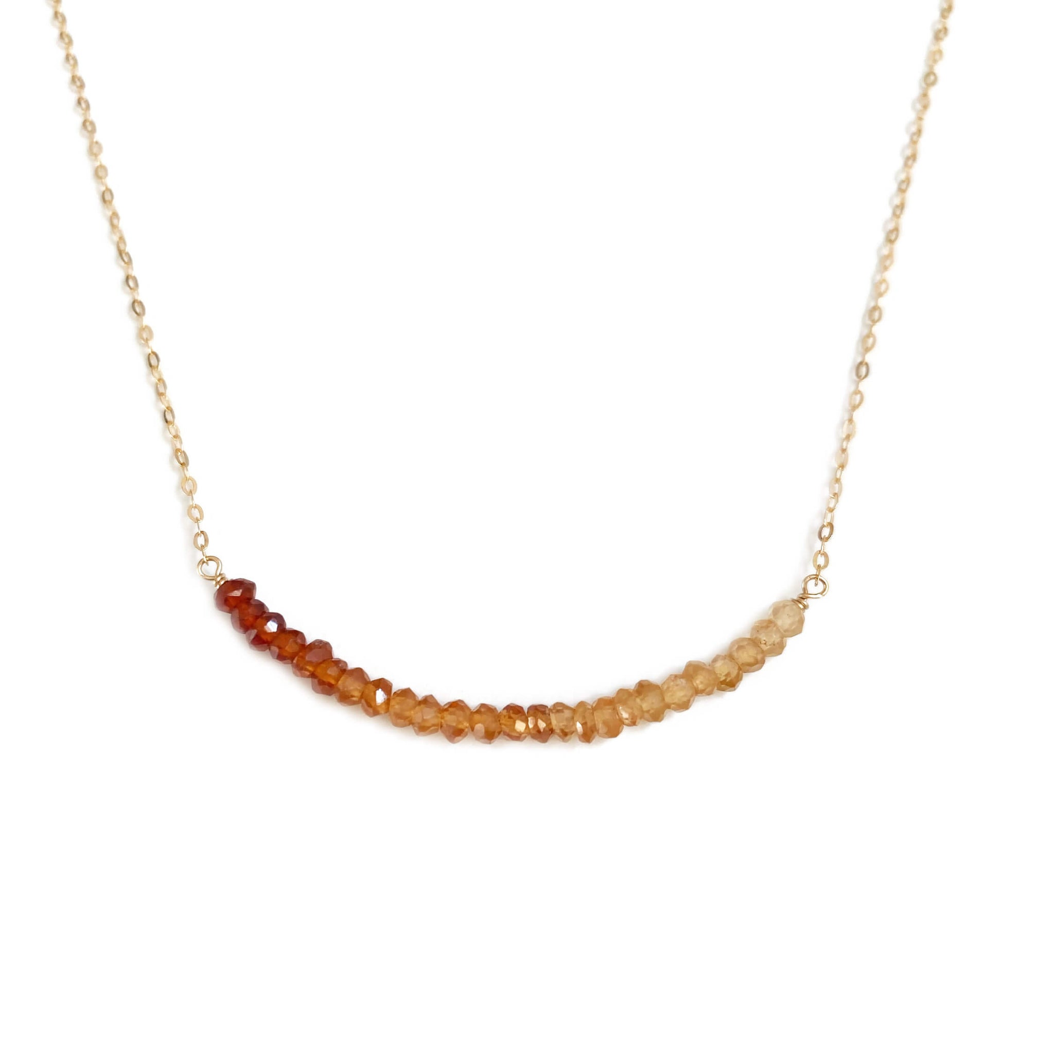 This ombre garnet necklace is made of ombre garnet and 14k gold chain. It can be made in gold filled or sterling silver chain too.