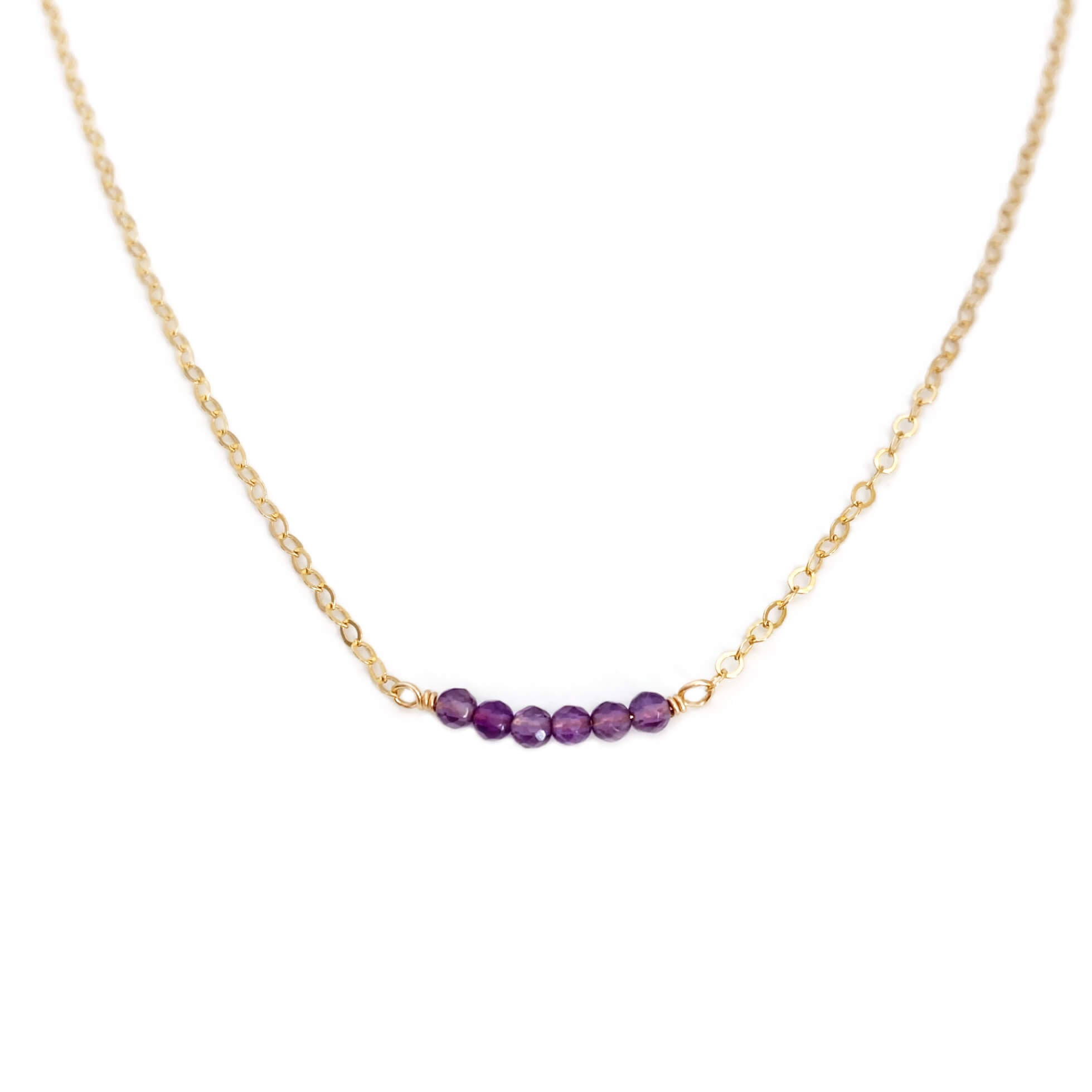 Dainty amethyst bead necklace is made of genuine amethyst beads and 14k gold chain.  It also can be made in gold filled or sterling silver chain with extender.