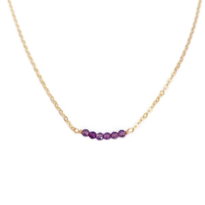 Dainty Amethyst bead necklace is February birthstone necklace.