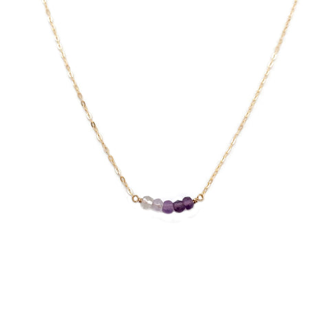This Amethyst bead necklace is made of ombre amethyst and 14k gold chain.  Its a great graduation gift idea or a birthday gift idea for people who like unique jewelry.