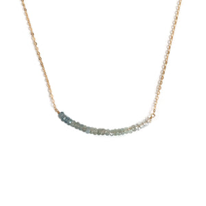 this ombre aquamarine necklace is unique and made of genuine aquamarine beads and  14k gold chain.  It can also be made in sterling silver or gold filled chain.
