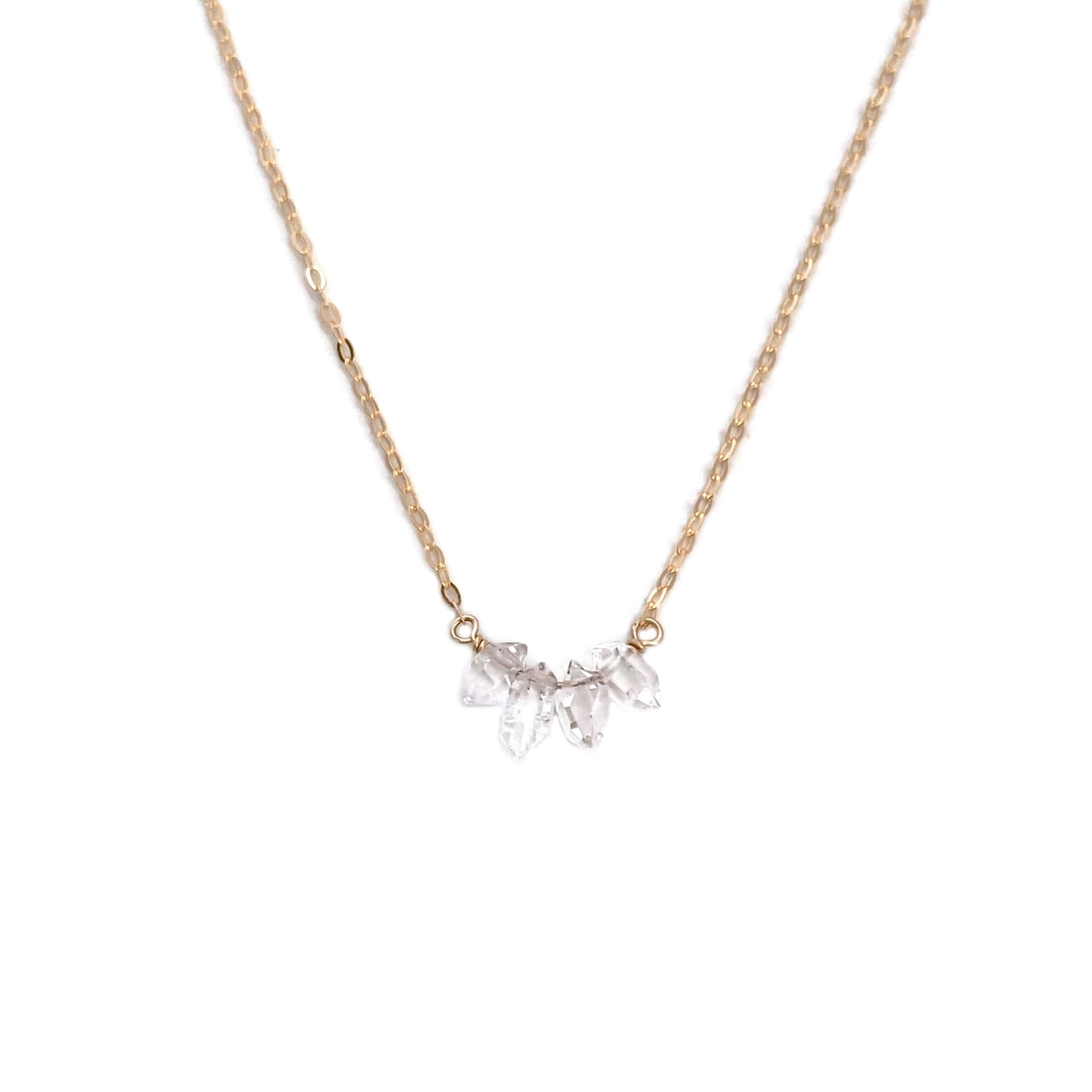 this delicate gold necklace is made of Herkimer diamond and dainty gold filled chain with extender.