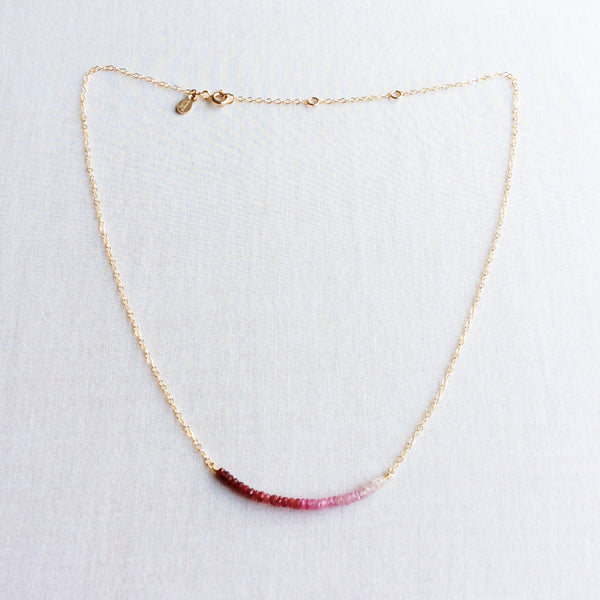 This natural ruby necklace is made of real ruby beads and gold filled chain. It can also be made in 14k solid gold or sterling silver chain.