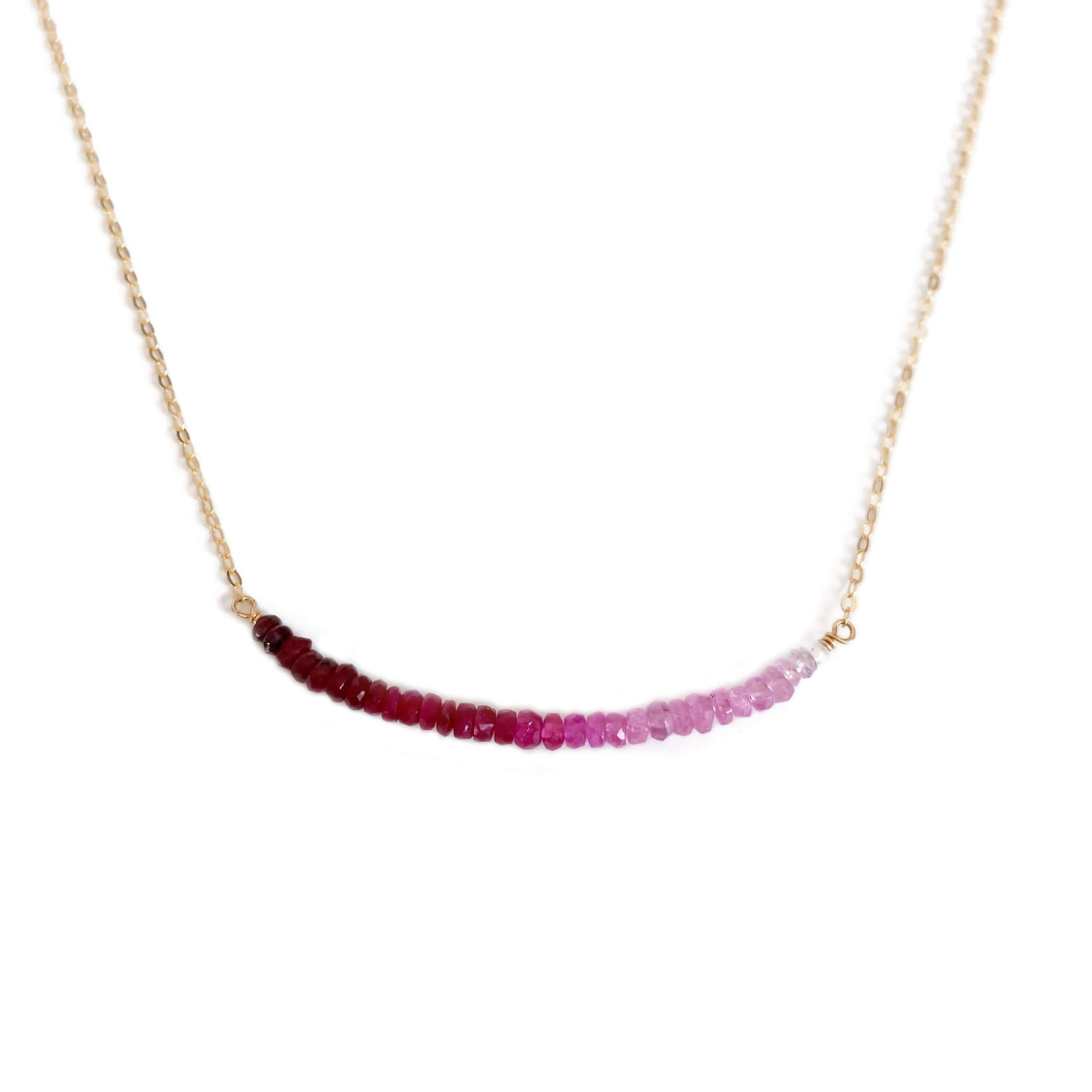 This ombre ruby necklace is made of shaded genuine ruby beads and 14k gold chain. It can also be made in sterling silver or gold filled chain with extender.
