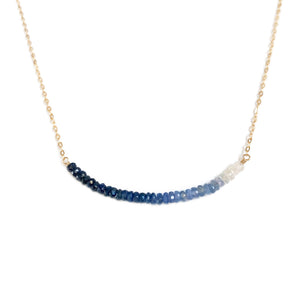 This dainty sapphire necklace is adjustable and can be made in gold fill, sterling silver and 14k gold material.