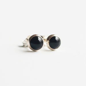 Onyx Stud Bezel Earrings