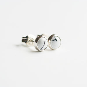 Howlite Stud Bezel Earrings