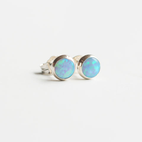 Opal Stud Bezel Earrings