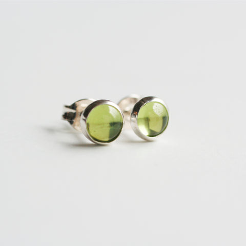 Peridot Stud Bezel Earrings