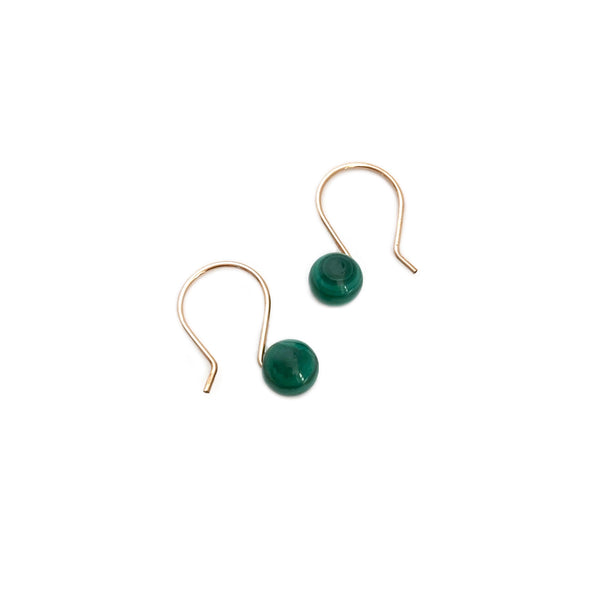 This is a pair of green gemstone earrings made of 6mm Malachite beads