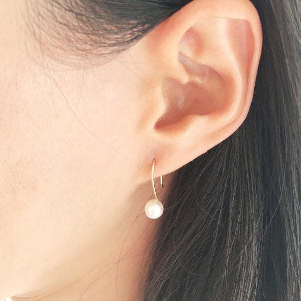 Freshwater pearl earrings are simple and dainty made in San Francisco