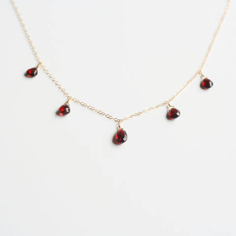 This garnet necklace is made of real garnet crystal and 14k gold chain.