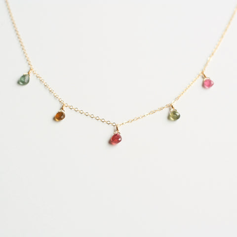 This Tourmaline necklace is made of 5 real tourmaline crystals and 14k gold chain.