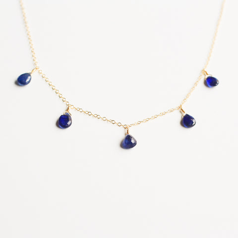 This sapphire necklace is dainty and made of real sapphire beads.