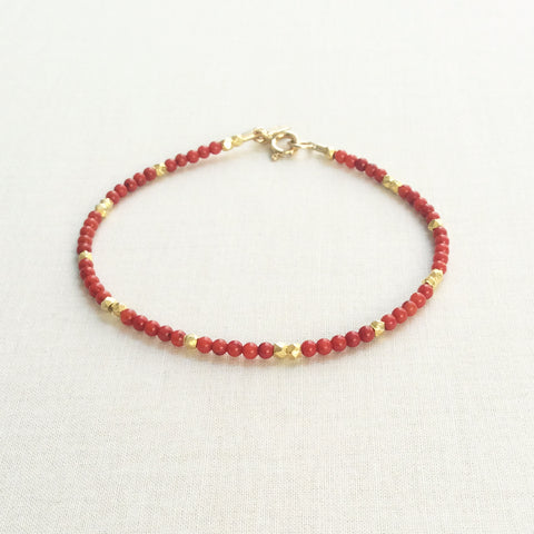 Nefertari Spaced Red Coral Bracelet