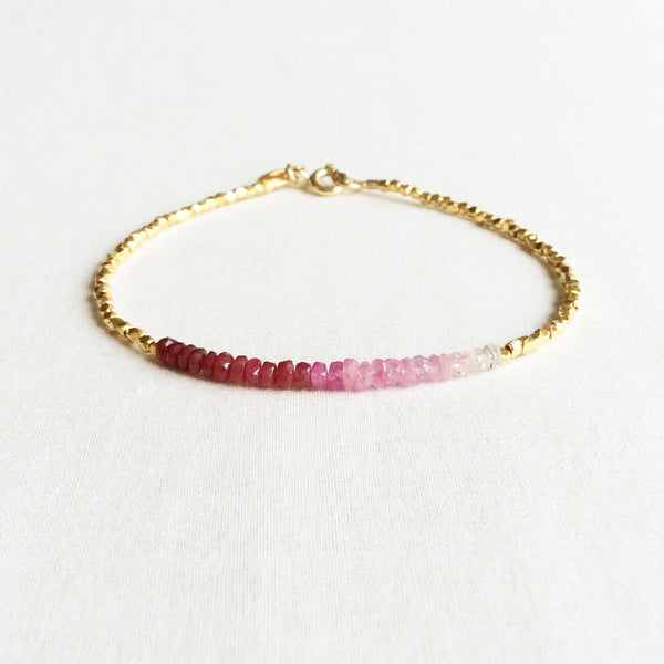 The ombre ruby bracelet is made with hand-selected rubies that have different shades of red – from nearly white to the deepest red.