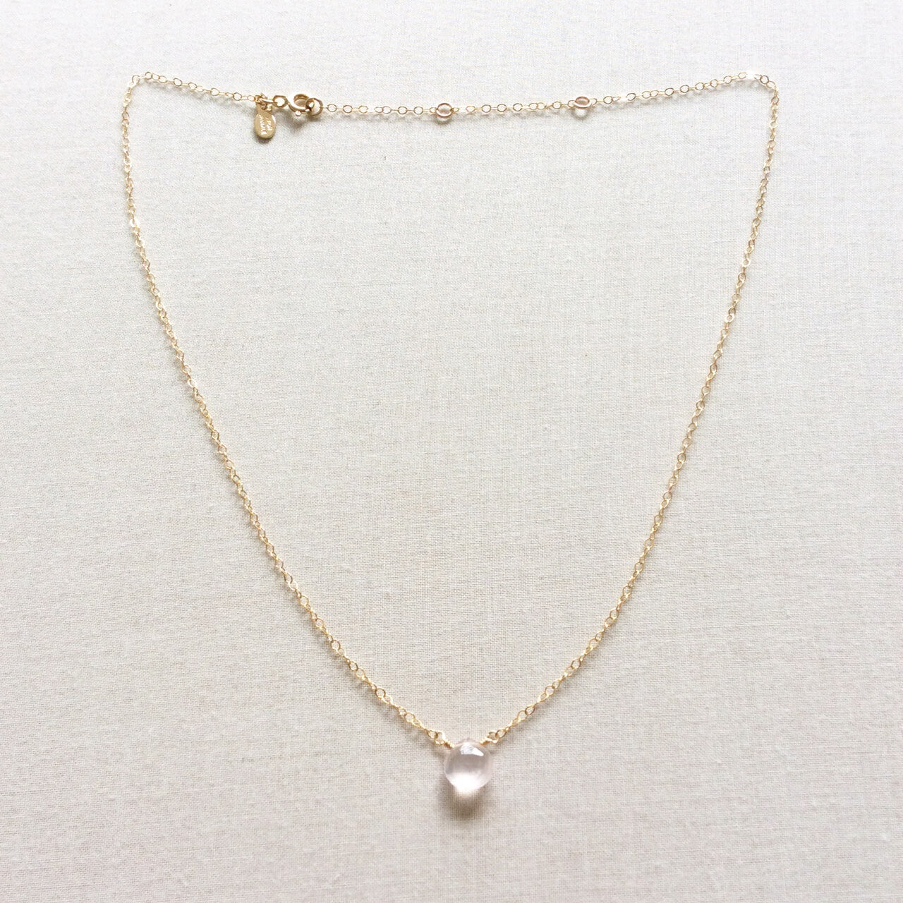 14k Rose Quartz necklace
