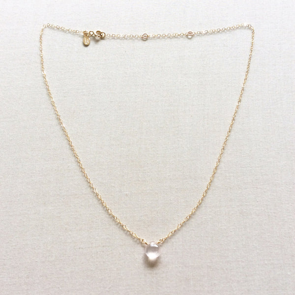dainty rose quartz necklace is one of our customers favorites, featuring a single pink rose quartz gemstone.